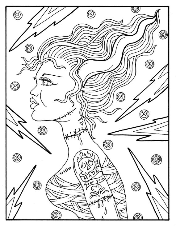 Glamour Ghouls Pin Ups para colorear libro adulto Color | Etsy