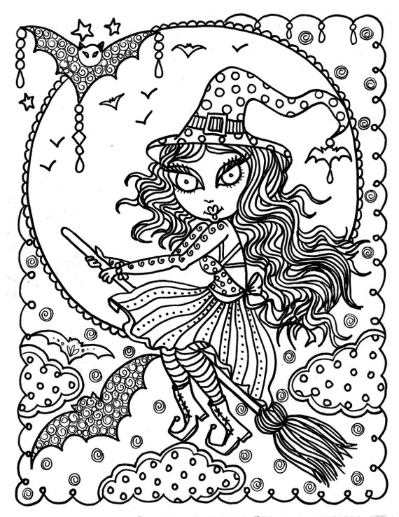 Cute Witch Halloween Coloring Page Fun Coloring Instant Etsy