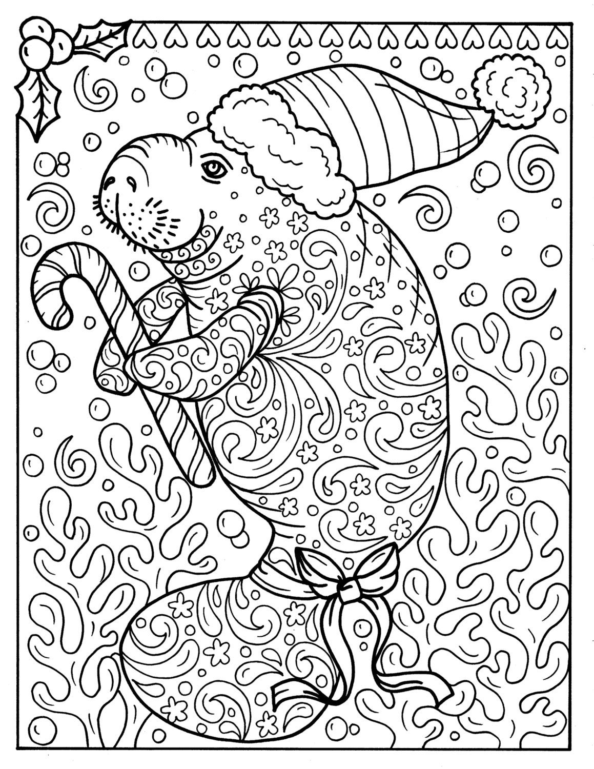 Manatee Christmas Coloring page Instant Download Adult | Etsy