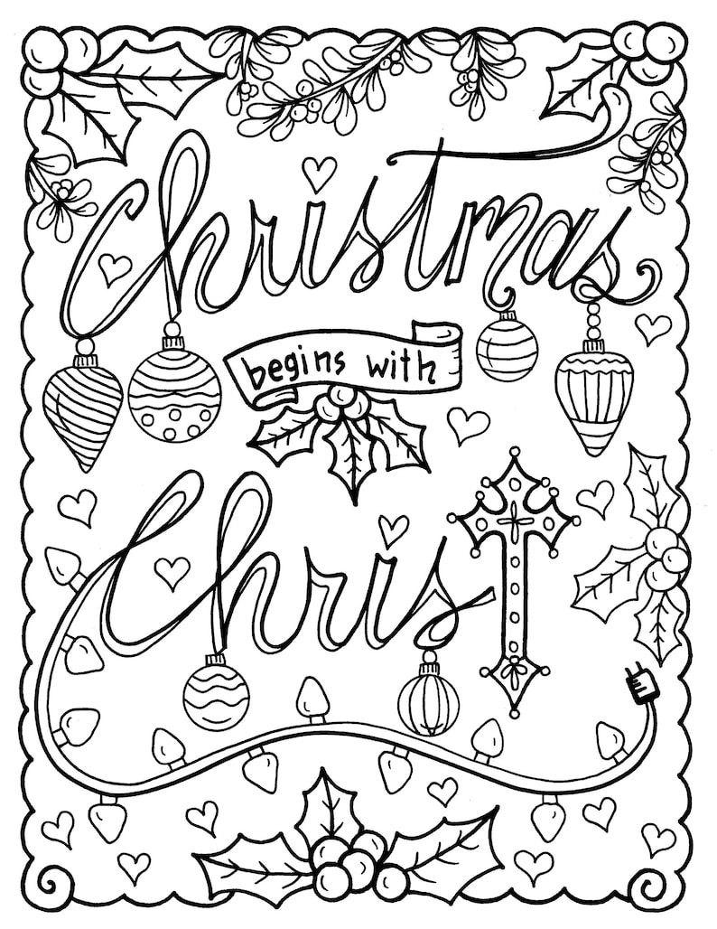 Christian Coloring age Christmas coloring page color book | Etsy