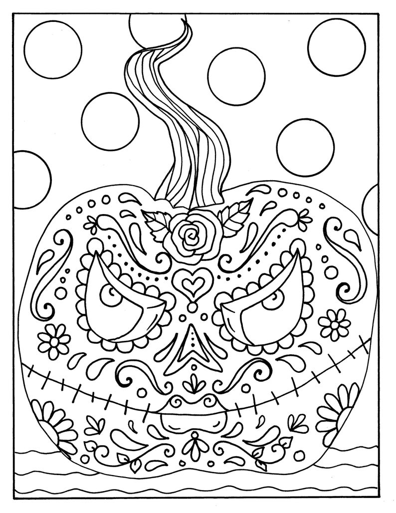 Day of the Dead Halloween Pumpkin digital coloring page | Etsy