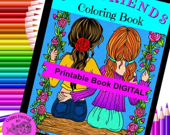 Girlfriends Coloring Book. Instant download, digital files. Adult coloring book for besties!