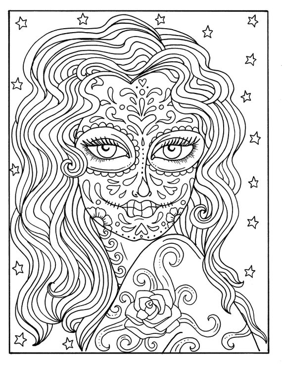 Gothic Coloring Books For Adults: 2017 Day Of The Dead Book (+100 ...   738x570