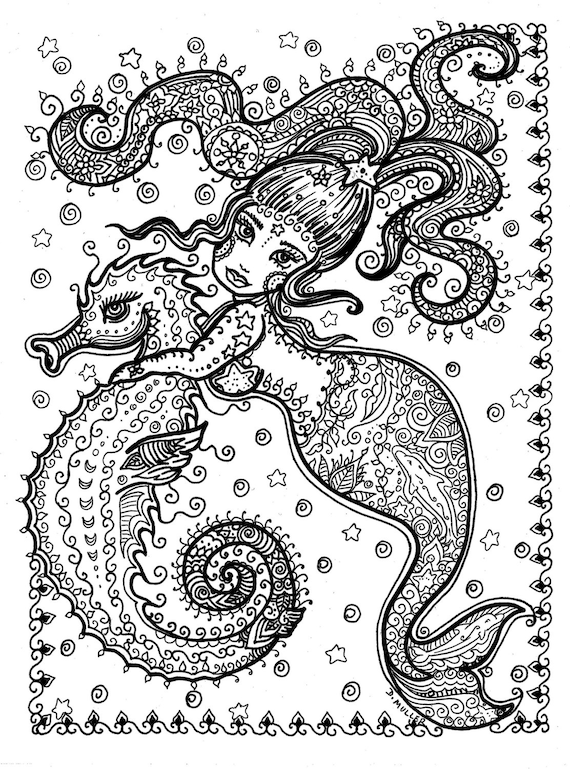 Printable Coloring Page Sea Horse And Mermaid You Download And Etsy