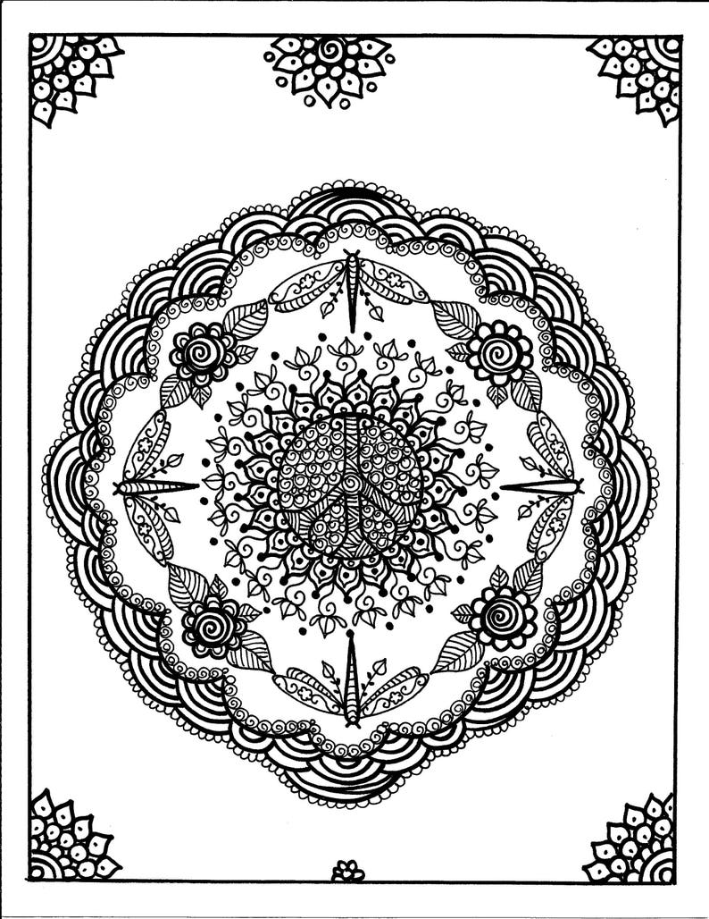 Kleurplaten Ster Mandala.Libellen Mandala Kleurplaten Pagina Volwassen Kleurplaten Etsy