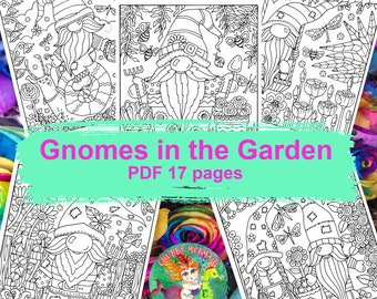 GNOMES in the GARDEN PDF pages to color. 17 pages of gnomes, flowers, birds and fun!