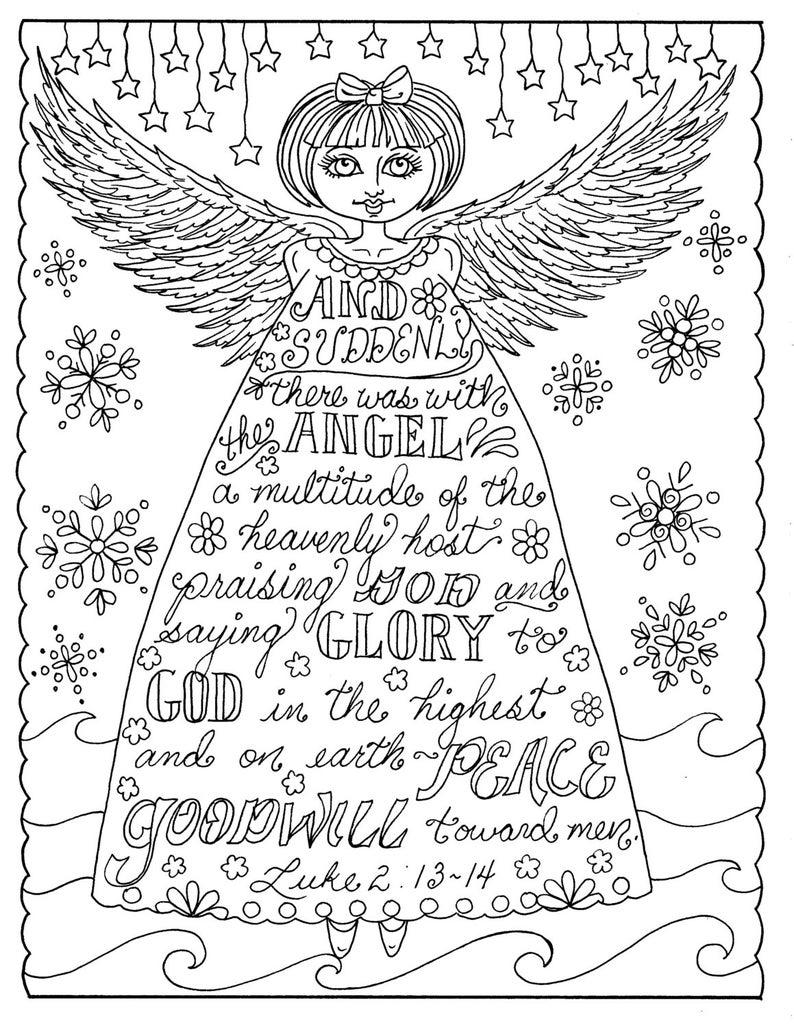 Kleurplaten Kerst Volwassen.Kerst Engel Christelijke Kleurplaten Pagina Volwassen Etsy