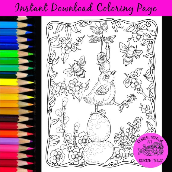 Spring Chick Totem Coloring Page. Instant download. Easter