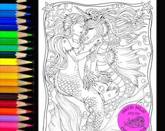 Mermaid and seahorse love coloring page. Instant download, digital coloring page jpg.