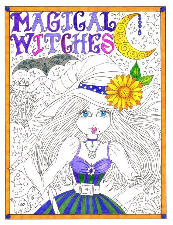 Diversión mágica Brujas para colorear Halloween para todos las | Etsy