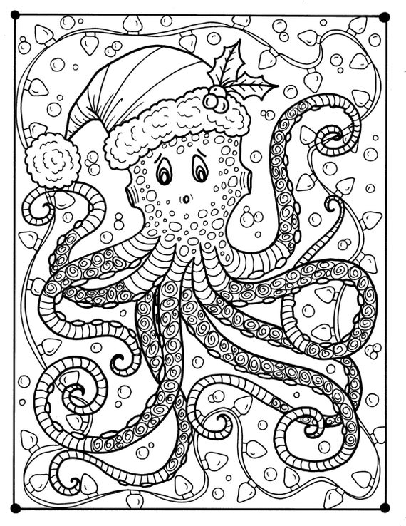 Octopus Christmas Coloring page Adult color Holidays beach | Etsy