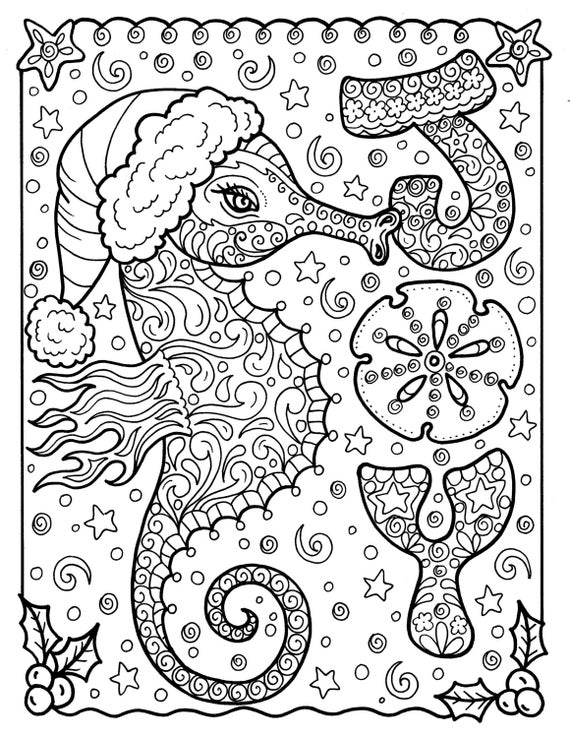 Sea Horse Christmas Coloring page Adult Holidays beach decor | Etsy