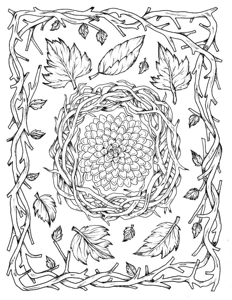 Kleurplaten Herfst Afdrukken.Herfst Bladeren En Bloem Digitale Kleurplaat Thanksgiving Etsy