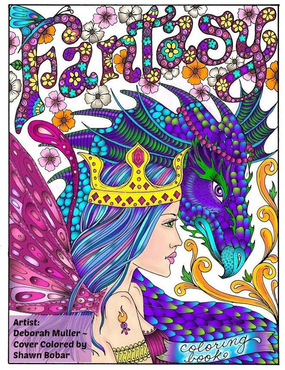 FANTASY Themed Coloring Book Fairies, dragons, pixies, gargoyles Adult  coloring magic realms color books