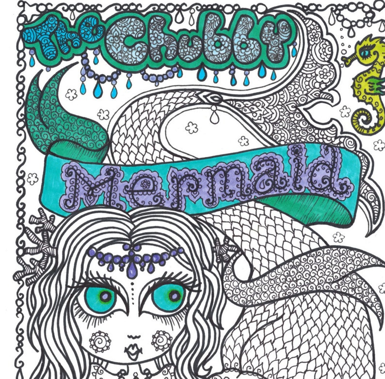 The Chubby Mermaid Coloring Book Fun for all ages be the | Etsy