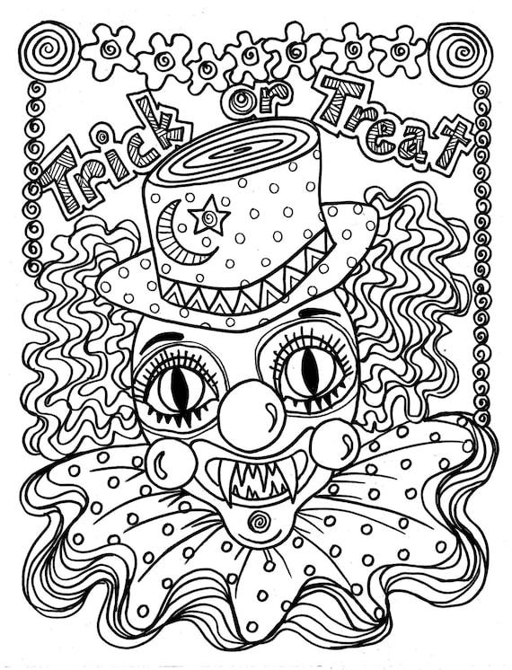 Enge Kleurplaten Van Halloween.Instant Download Enge Clown Halloween Spooky Kleurplaat Pagina Voor Alle Leeftijden Truc Of Behandelen Volwassen Kleuren