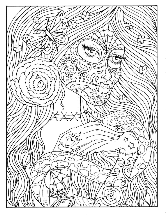 5 Pages Day Of The Dead Girls Digital Coloring Book Coloring Etsy