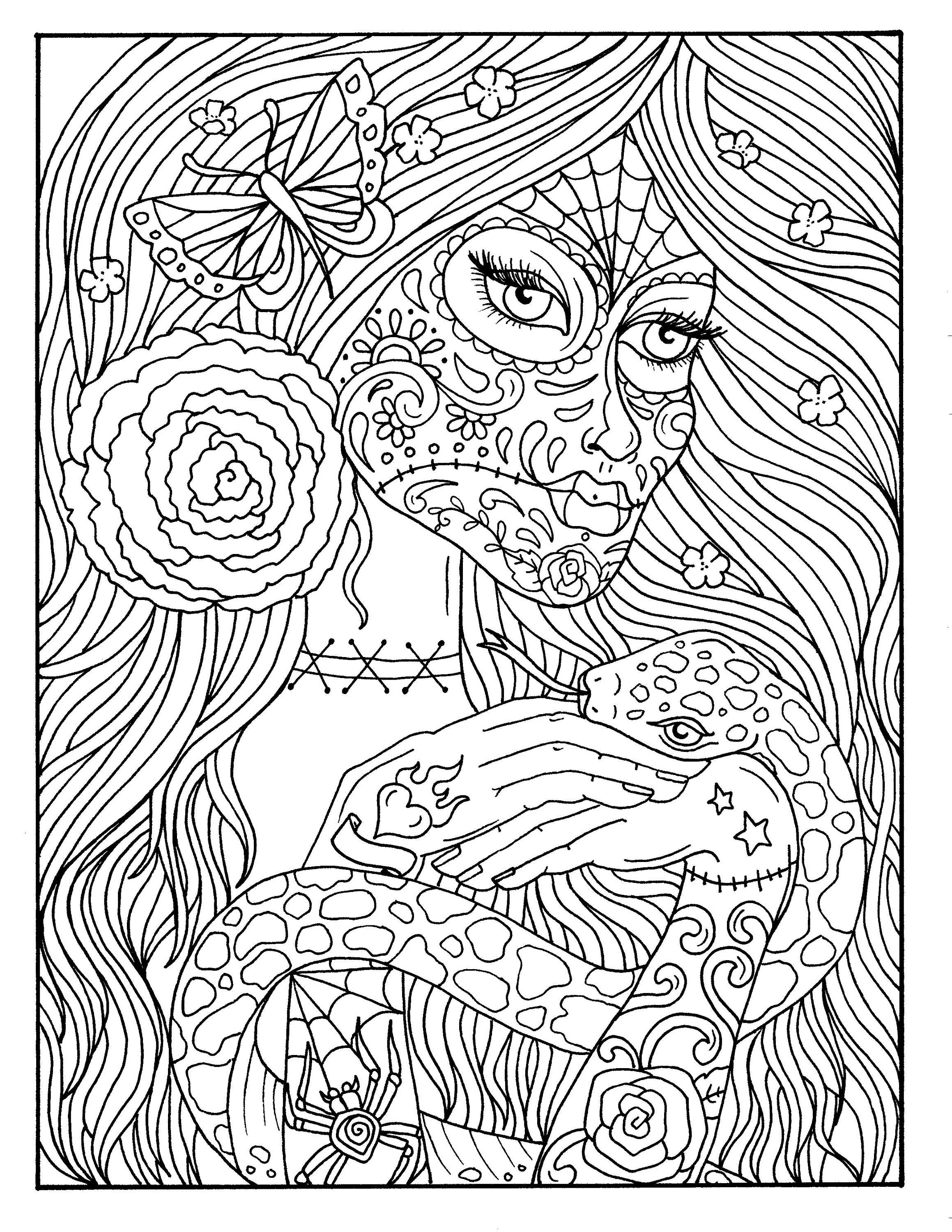 5 Pages Day of the Dead Girls Digital coloring book ...