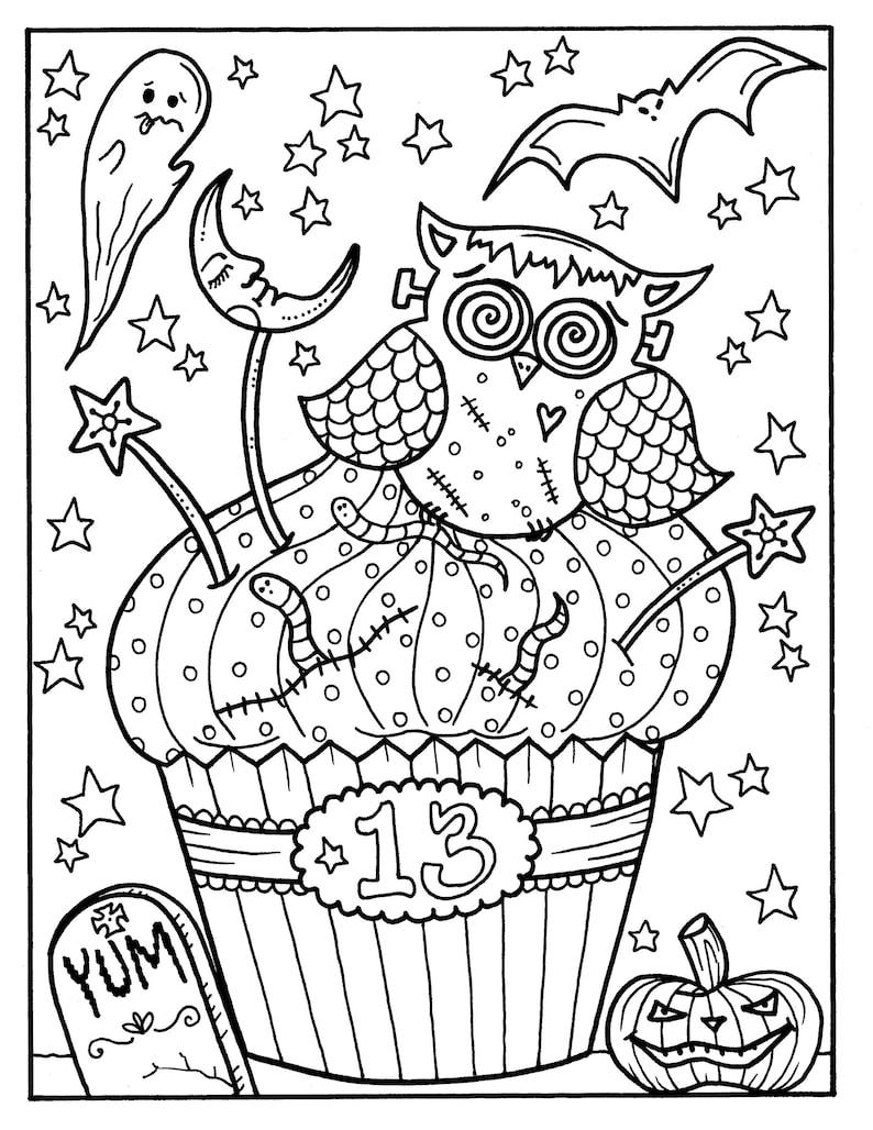 Halloween Cupcakes Teil 2 Printables Erwachsene Malvorlagen Spaß Für Halloween Digital Färbung Seiten Hexe Eule Pinup Oktopus Kunst