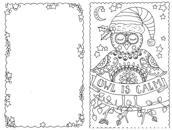 christmas greeting cards coloring pages | 4 Cards to Color Owl Christmas Cards You be the Artist ...