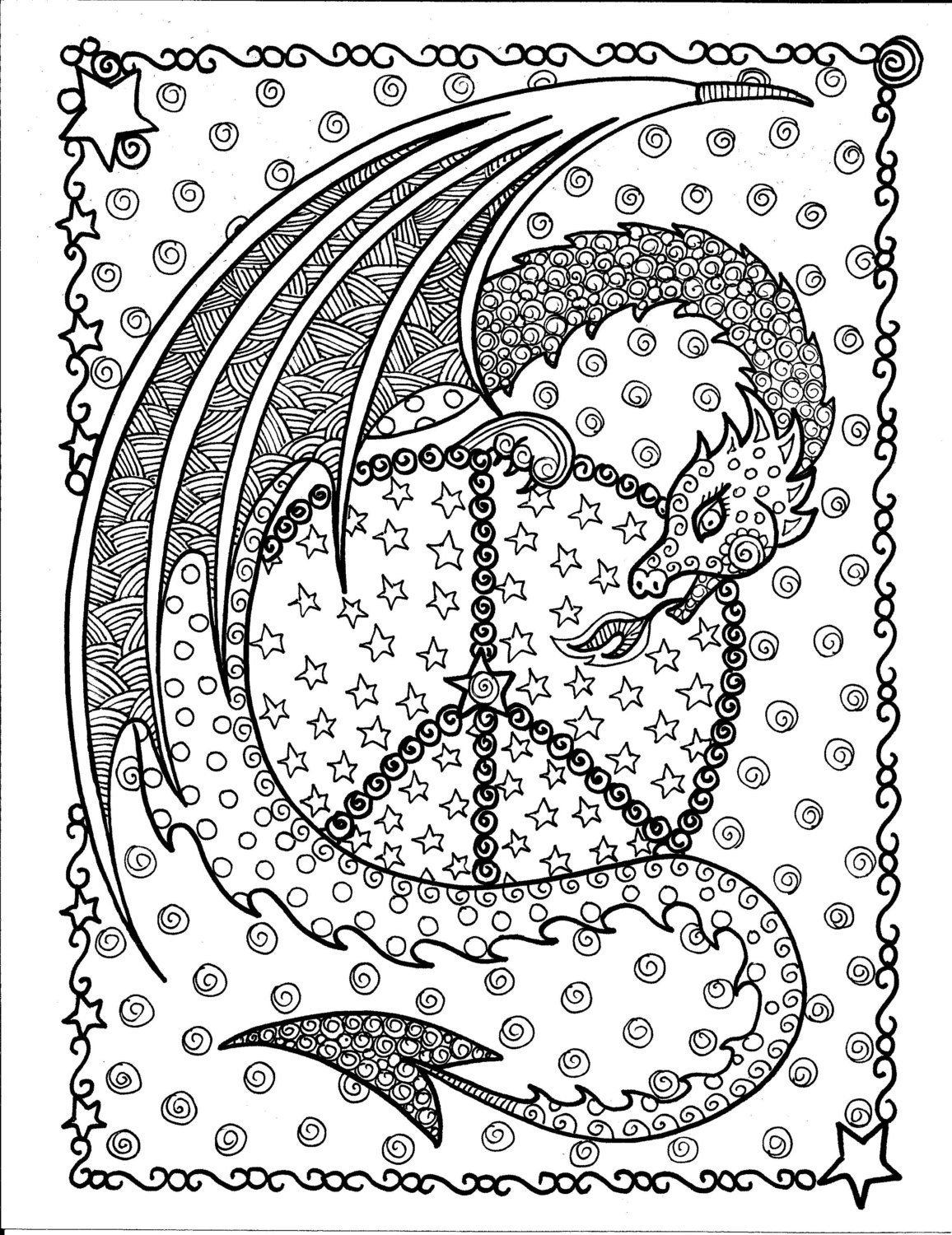 Instant Download Dragon Peace Sign Coloring Page Be The Etsy