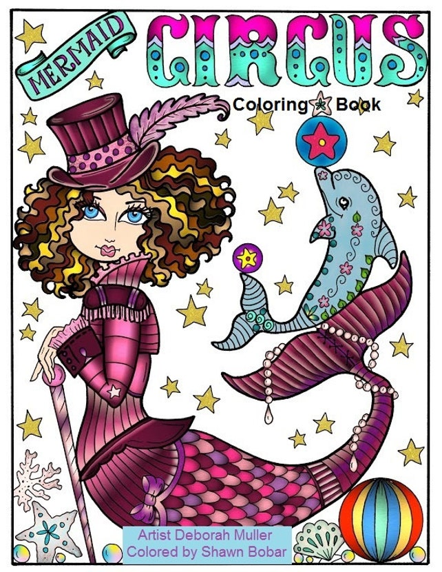 Mermaid Circus Coloring Book Adult coloring all ages Fantasy | Etsy