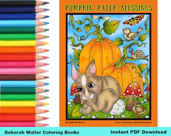 Pumpkin Patch Blessings Digital Coloring Book. Thankful and grateful quotes, scripture and sayings. Fall coloring.