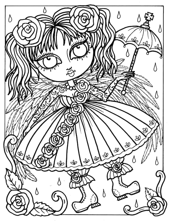 5 Pages Gothic Angels To Color Coloring Book Digital Etsy