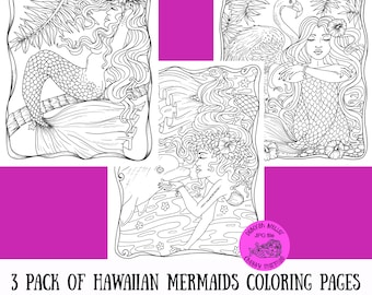 Hawaiian Mermaids 3 pack of coloring pages for adult coloring. Tropical, beach, fun!