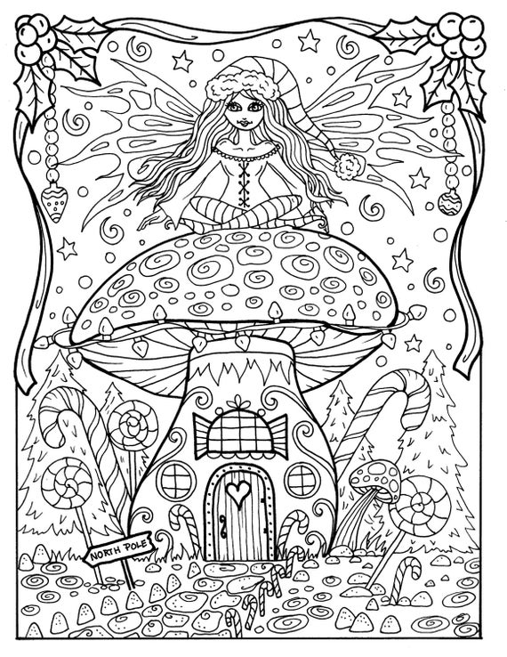 Christmas Pictures To Color For Adults.Fairy Christmas Coloring Page Adult Color Fairy House Digital Color