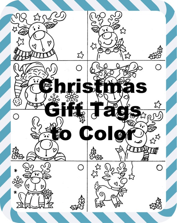 Christmas Reindeer Gift Tags to Color printable digital | Etsy