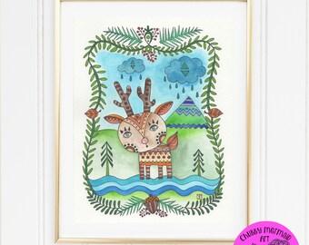 Instant download Art Woodland animals, nursery, kids, deer, fawn, kids room, whimsical art, animal, forest, digital, digi, printables