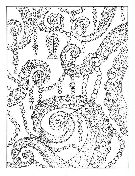 Kleurplaten Voor Volwassenen Tuin.Octopus Tuin Kleurplaat Instant Downloaden De Artiest Digi Stempel Scrapbooking Volwassen Kleuren Boek Pagina Volwassen Worden
