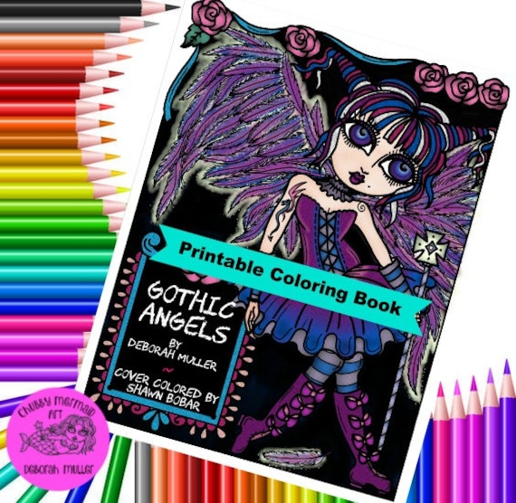 Digital Book Gothic Angels Instant Download Coloring Book Etsy