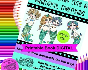 How to draw Mermaids that are cute and whimsical, Digital version, learn to draw, doodle, be more creative. Step by step way to draw.