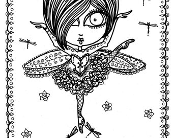 Coloring Book Downloads Funky Fairy Ballerina You be the Artist/digital/digi stamp/adult coloring