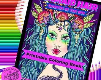 Mermaid Hair Queens of the Sea Digital Coloring mermaid, sirens, digi stamps, beautiful faces