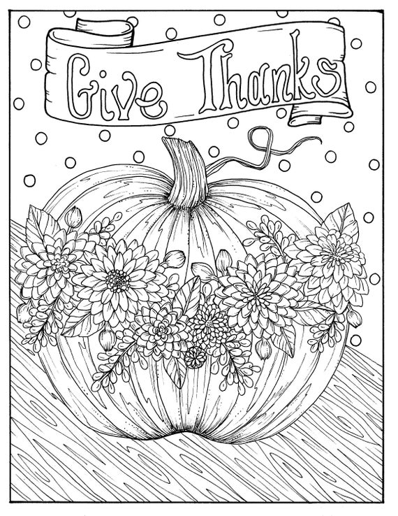 Give Thanks Digital Coloring Page Thanksgiving Harvest Holiday Coloring Page Color Books Adult Coloring