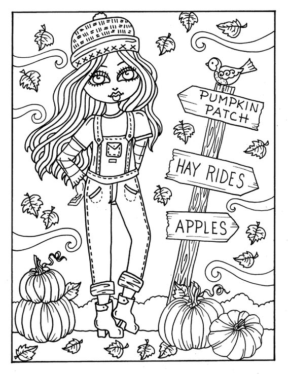 7 PAGES FALL Girls Digital Coloring pages digi, color page, instant  download, printable, color book, halloween