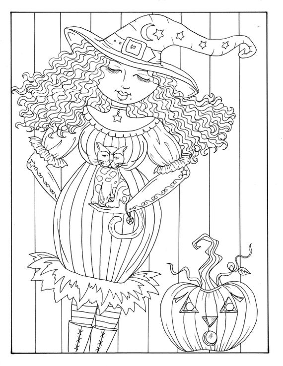 5 pages of Magical Witches to color halloween Instant | Etsy