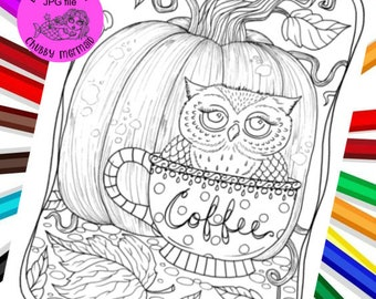 Coffee, owls and pumpkins! Perfect! Digital coloring page. Adult coloring for fall.