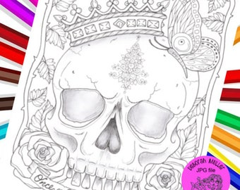 Once a Queen digital download coloring page. Halloween. Jpg coloring page. Digital coloring page.