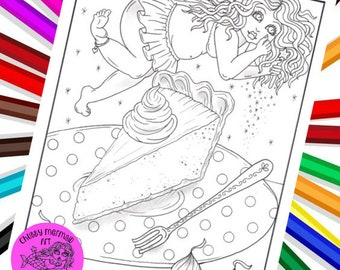 Sweets Fairy. Download. Holiday fairies, Thanksgiving pie fairy, Sweet fairy to color. Digital, PDF
