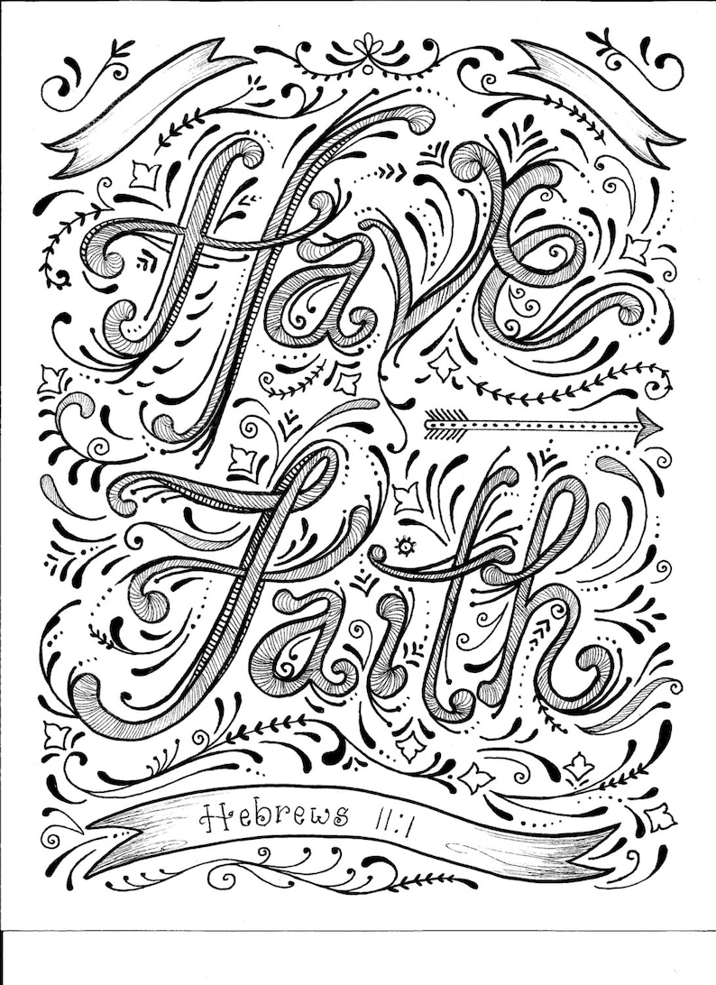 Instant Download Faith Coloring Page image 0