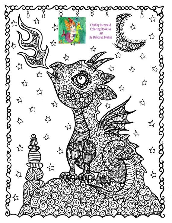 Descargar colorear Baby fuego dragón fantasía para colorear | Etsy