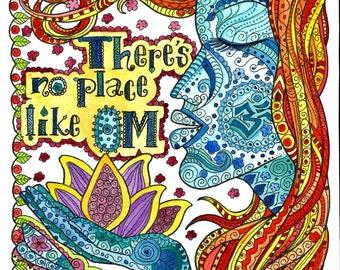 No Place like OM Digital Download Yoga Art print Namaste