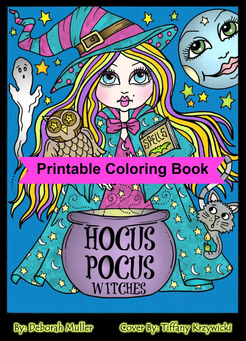 Hocus Pocus Witches Printable Coloring Pages For Adults Halloween Fun Halloween Witch Whimsical Coloring Book Halloween Coloring Book