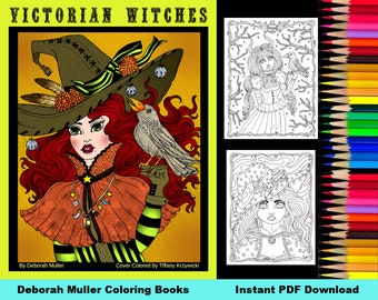 Victorian Witches Digital Coloring Book. 32 pages of coloring fun! Halloween, witch, potions, pumpkins.