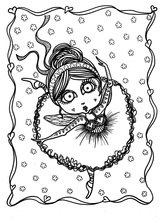 5 pages Downloadable 5 pack bundle Coloring Pages Funky Fairy | Etsy