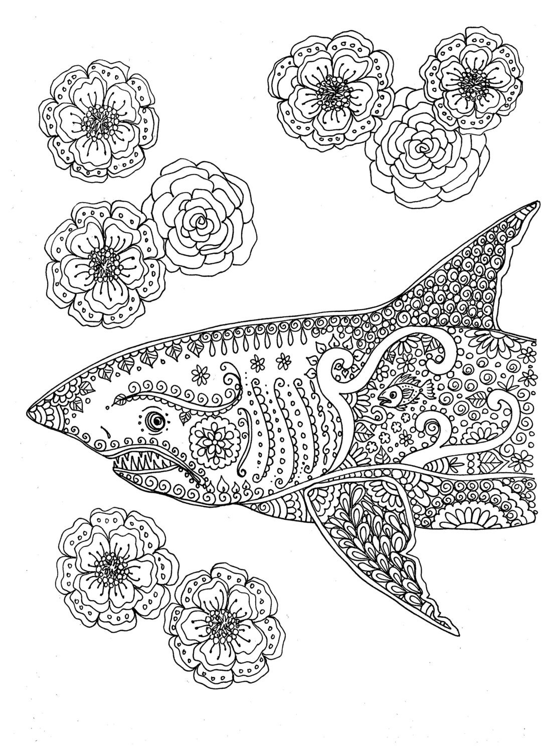 download coloring pages for adults Instant Download Coloring page Shark Adult Coloring You be the | Etsy download coloring pages for adults